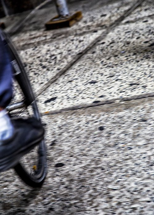Riding Greeting Card featuring the photograph Riding On The Sidewalk by Karol Livote