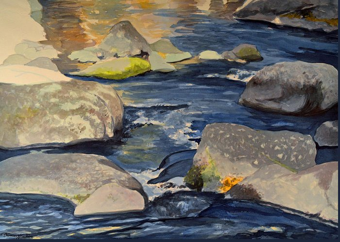 Water Greeting Card featuring the painting Riffle by Thomas Stratton