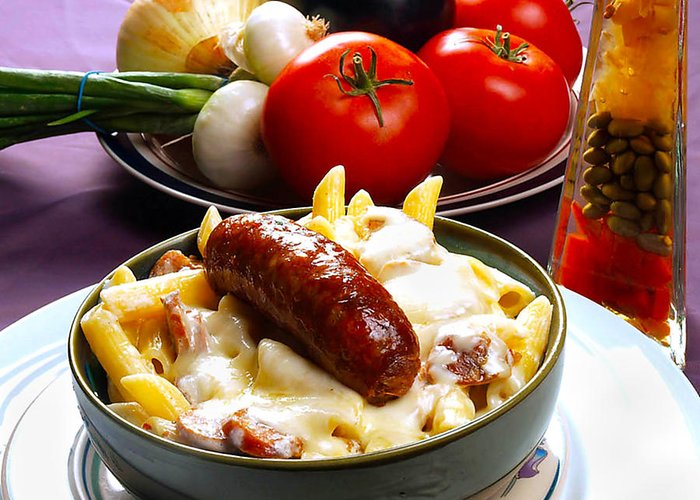 Rigatoni And Sausage Greeting Card featuring the photograph Rigatoni And Sausage by Camille Lopez