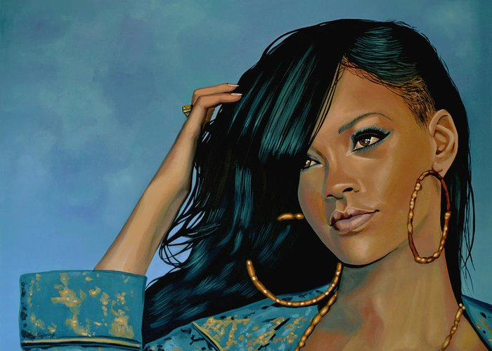Rihanna Greeting Card featuring the painting Rihanna Painting by Paul Meijering