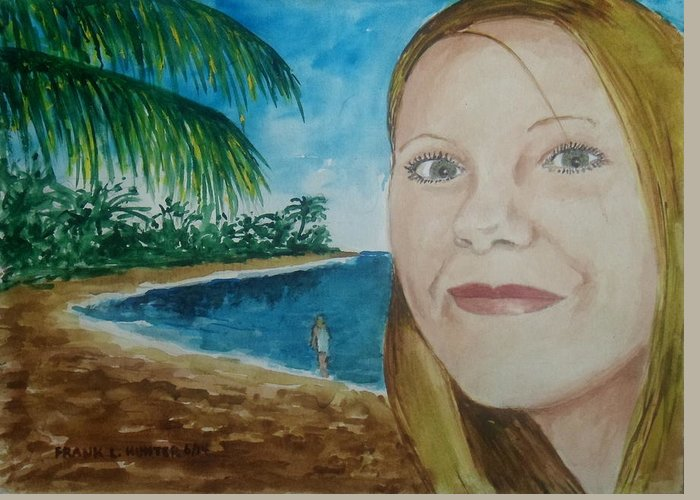 Rincon Puerto Rico Beach Girl Amber Greeting Card featuring the painting Rincon Girl by Frank Hunter