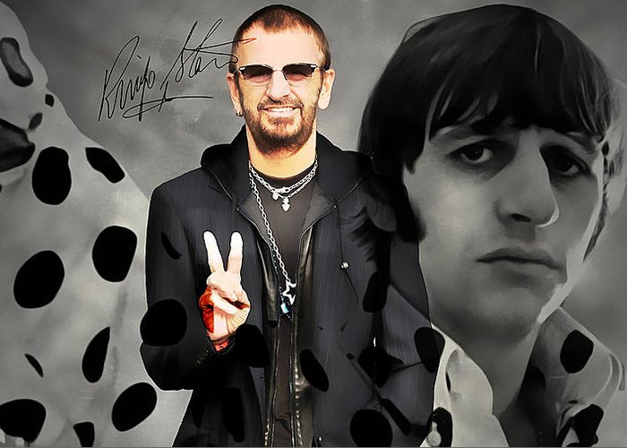 Ringo Art Greeting Card featuring the mixed media Ringo Star by Marvin Blaine