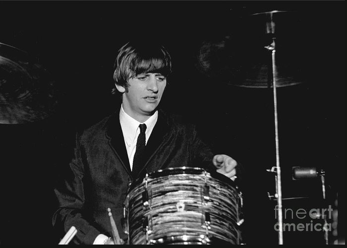 Beatles Greeting Card featuring the photograph Ringo Starr, Beatles Concert, 1964 by Larry Mulvehill
