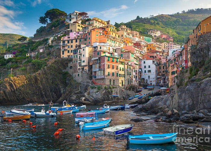 Cinque Terre Greeting Card featuring the photograph Riomaggiore Boats by Inge Johnsson
