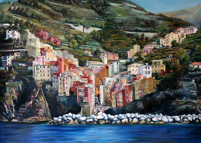 Cinque Terre Greeting Card featuring the painting Riomaggiore Glory- Cinque Terre by Jennifer Lycke