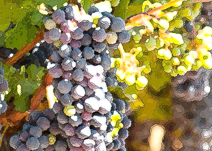 Grapes Greeting Card featuring the painting Ripe Grapes by Artist and Photographer Laura Wrede