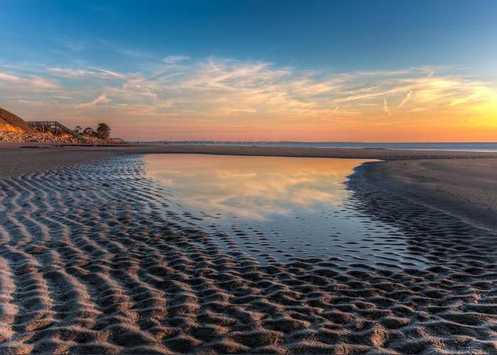 Clouds Greeting Card featuring the photograph Ripples In The Sand by Debra and Dave Vanderlaan
