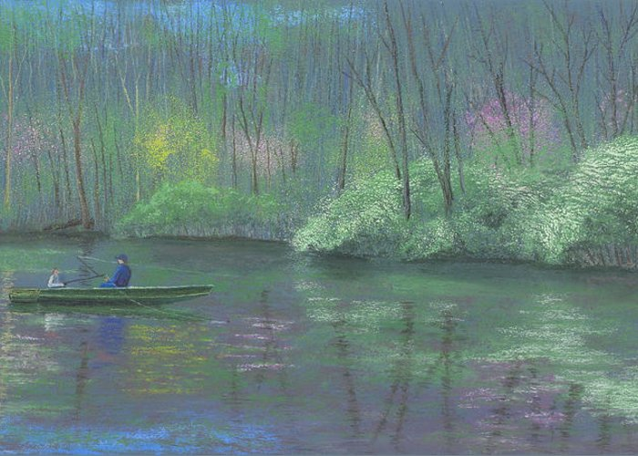 Fishing Greeting Card featuring the pastel Rite Of Spring by Garry McMichael
