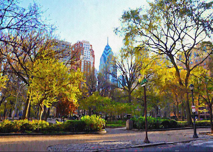 Rittenhouse Greeting Card featuring the photograph Rittenhouse Square In The Spring by Bill Cannon