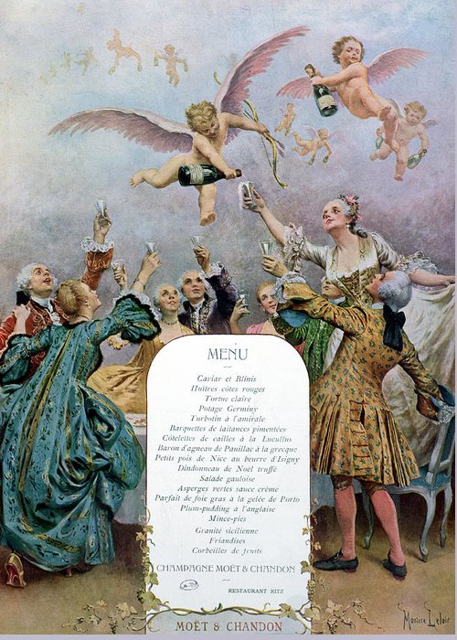 Marque Moet Et Chandon Greeting Card featuring the painting Ritz Restaurant Menu by Maurice Leloir