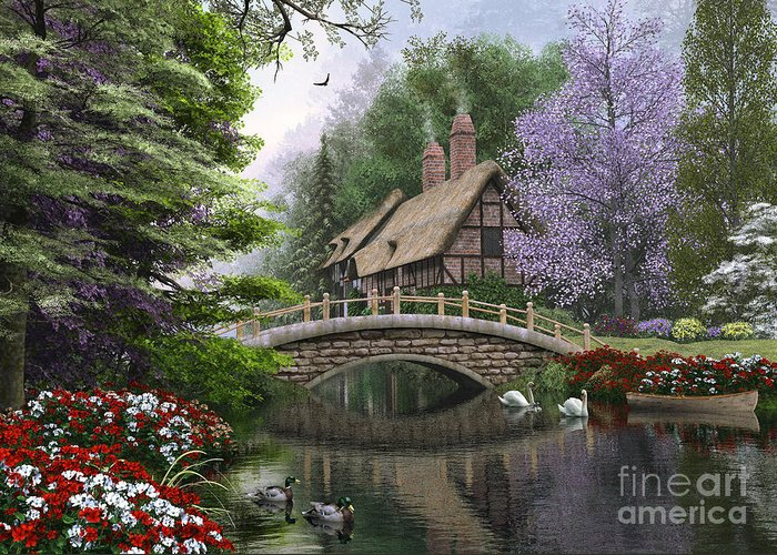 Victorian Greeting Card featuring the digital art River Cottage by Dominic Davison