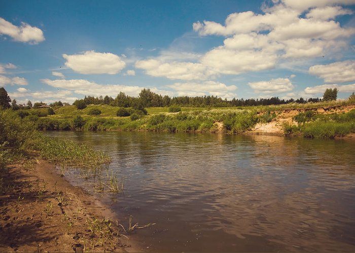River Greeting Card featuring the photograph River Flows by Jenny Rainbow