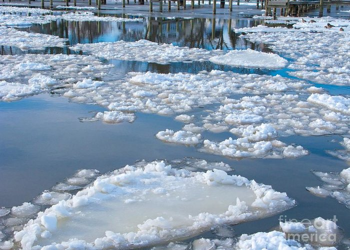 Ice Greeting Card featuring the photograph River Ice by Ann Horn