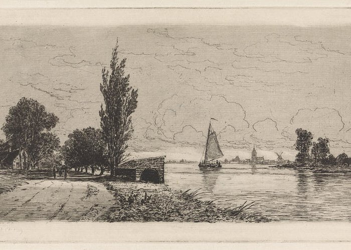 River Greeting Card featuring the drawing River Landscape With Sailing Ship, Elias Stark by Elias Stark