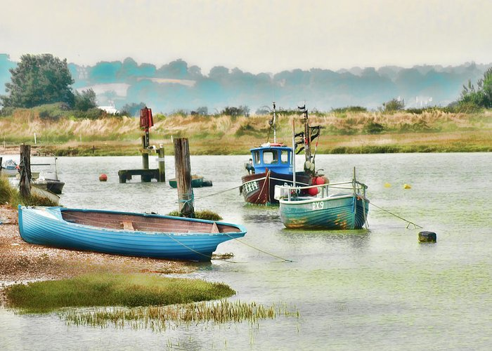 Small Boat Prints Greeting Card featuring the photograph River Life by Sharon Lisa Clarke