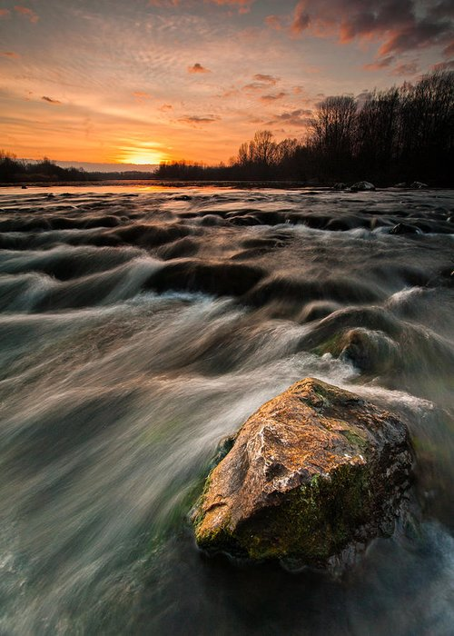 Landscape Greeting Card featuring the photograph River Sunset by Davorin Mance