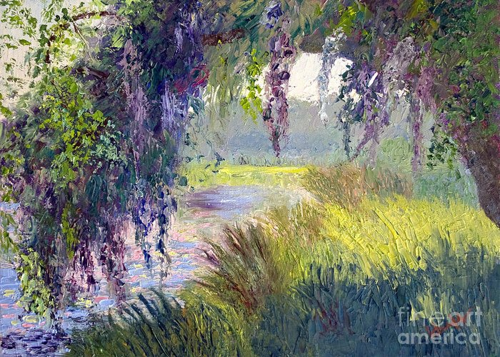 Low Country Greeting Card featuring the painting River Through The Moss by Patricia Huff