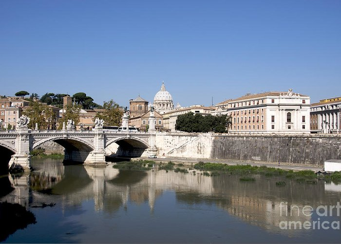 With Greeting Card featuring the photograph River Tiber With The Vatican. Rome by Bernard Jaubert