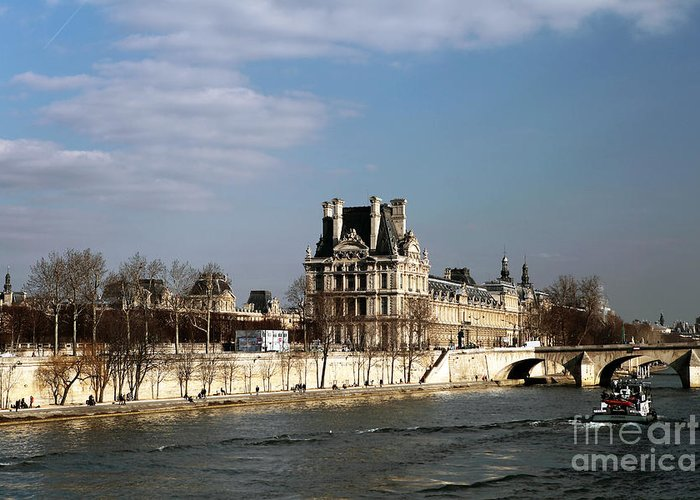 River View In Paris Greeting Card featuring the photograph River View In Paris by John Rizzuto