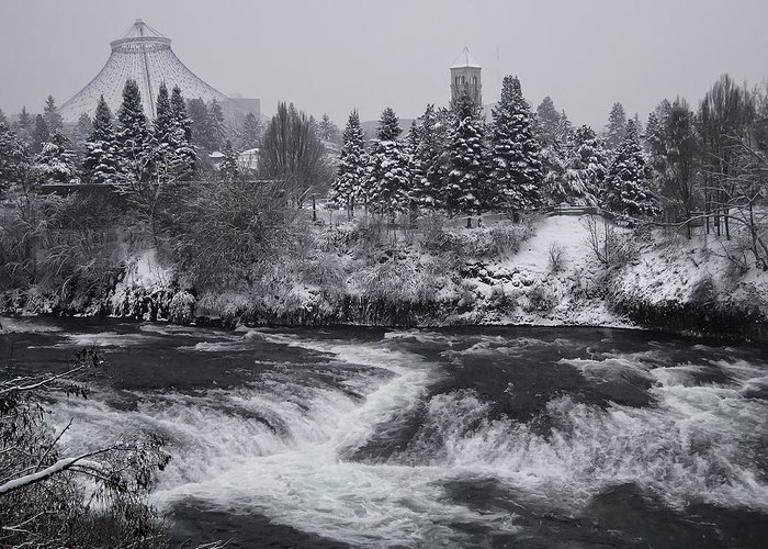 Spokane Greeting Card featuring the photograph Riverfront Park Winter Storm - Spokane Washington by Daniel Hagerman