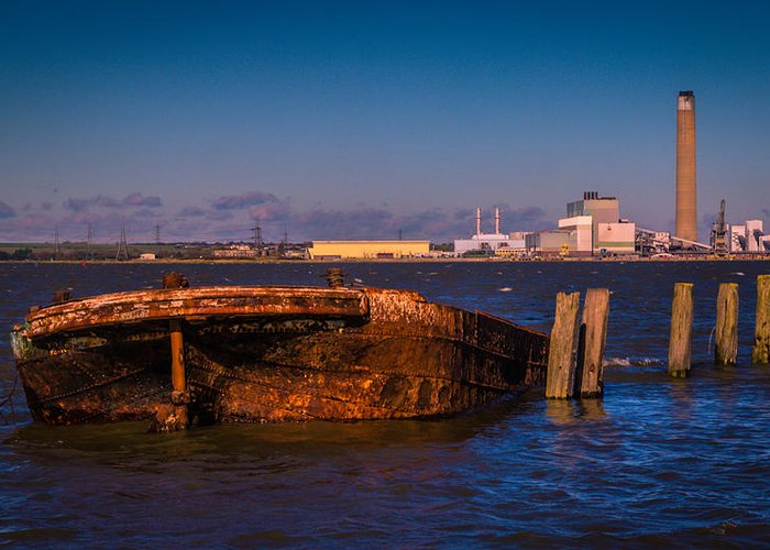 Chatham Greeting Card featuring the photograph Riverside Wreck by Dawn OConnor