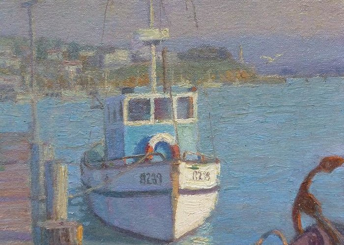 Harbours Greeting Card featuring the painting Riverton Nz. by Terry Perham