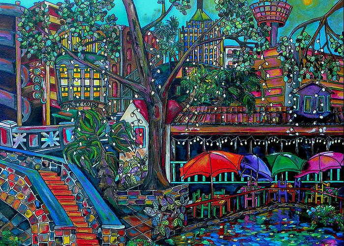 Riverwalk Greeting Card featuring the painting Riverwalk by Patti Schermerhorn