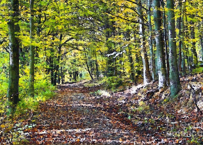 Autumn Greeting Card featuring the painting Road In The Forest by Odon Czintos