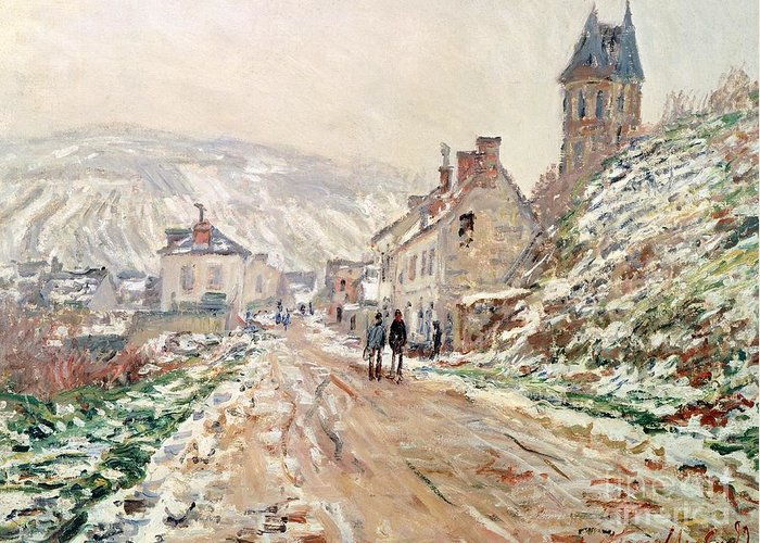 Art Greeting Card featuring the painting Road In Vetheuil In Winter by Claude Monet