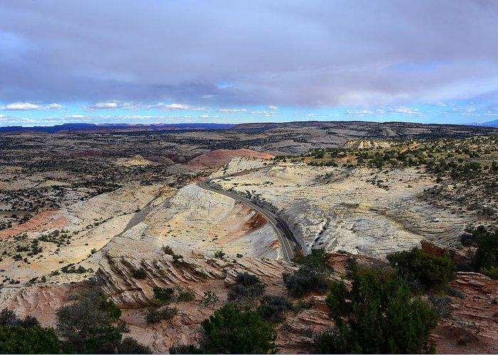 Road Greeting Card featuring the photograph Road Over Slick Rock by David Lee Thompson
