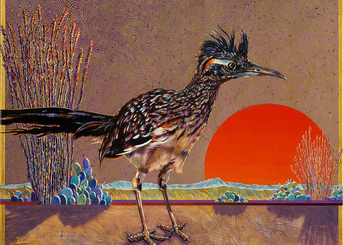 Bird Greeting Card featuring the painting Road Runner At Sundown by Bob Coonts