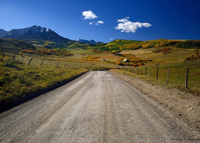 Colorful Landscape Greeting Card featuring the photograph Road To A Beautiful Valley Ranch by Rendell B