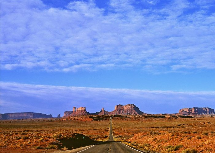Landscape Greeting Card featuring the photograph Road To Monument Valley by Alex Cassels
