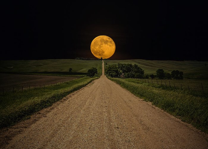 Road To Nowhere Greeting Card featuring the photograph Road To Nowhere - Supermoon by Aaron J Groen