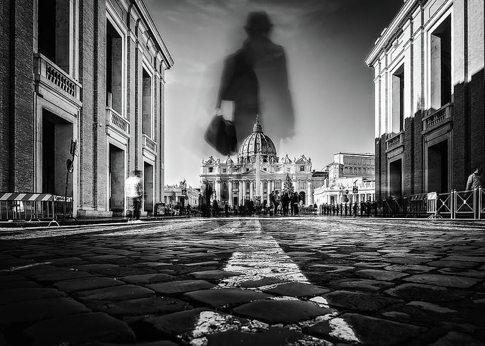 Rome Greeting Card featuring the photograph Road To St.peter by Massimiliano Mancini