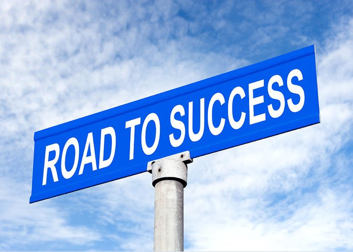 Street Sign Greeting Card featuring the photograph Road To Success Street Sign by Joe Belanger