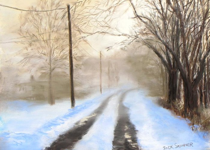 Snow Greeting Card featuring the pastel Road To The Ice House by Jack Skinner