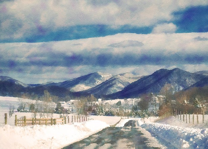 Ice Greeting Card featuring the photograph Road To The Mountains by Kathy Jennings
