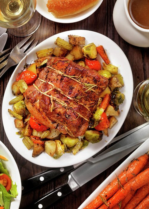 Gravy Greeting Card featuring the photograph Roasted Pork Loin Roast Dinner by Lauripatterson