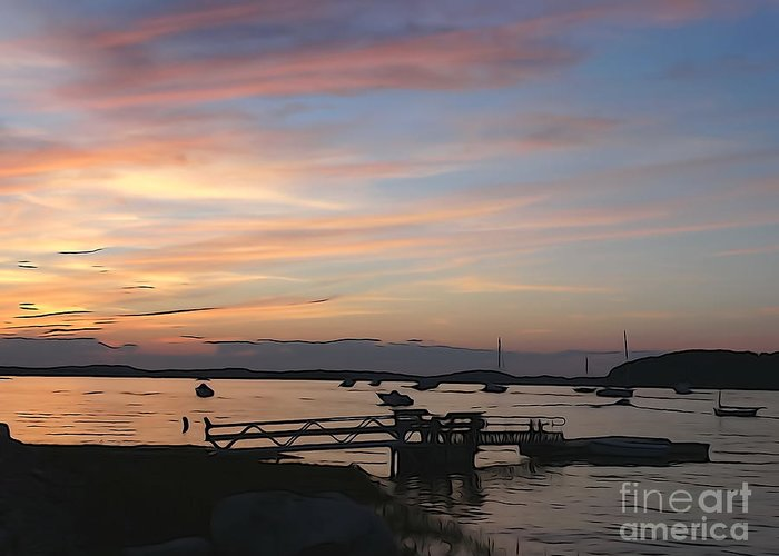 Sunset Greeting Card featuring the photograph Robbin's Island Wharf by Phil Campanella