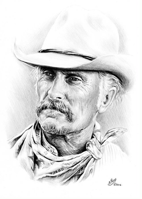 Robert Duvall Greeting Card featuring the drawing Robert Duvall by Andrew Read