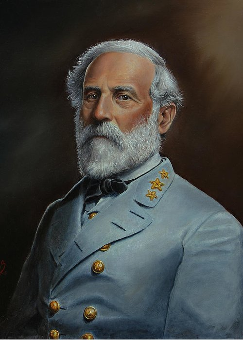 Portrait Greeting Card featuring the painting Robert E. Lee by Glenn Beasley