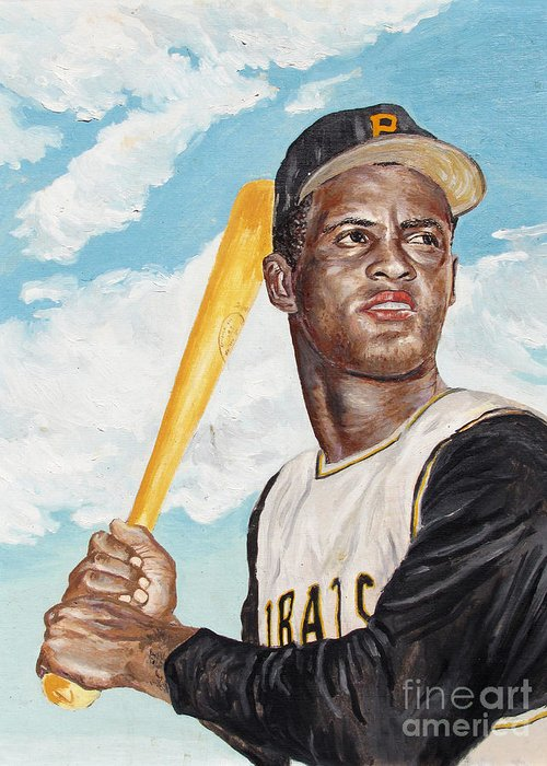 Portrait Greeting Card featuring the painting Roberto Clemente by Philip Lee