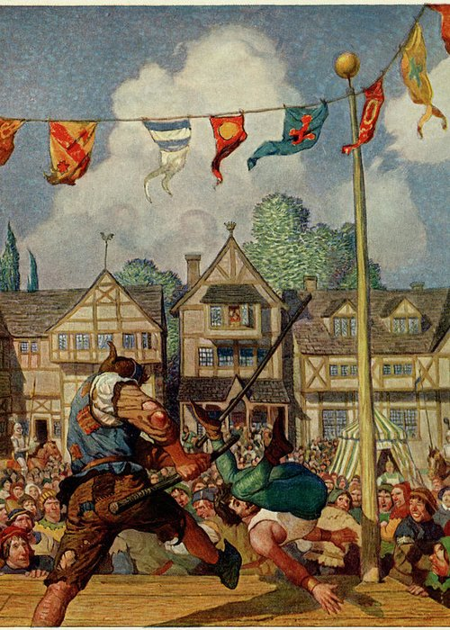 Little Greeting Card featuring the drawing Robin Defeats Nat Of Nottingham by Mary Evans Picture Library