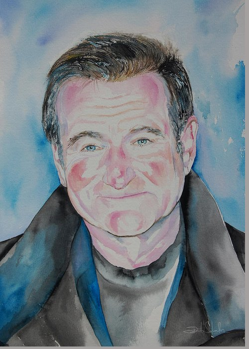 Robin Williams Greeting Card featuring the painting Robin Williams by Isabel Salvador