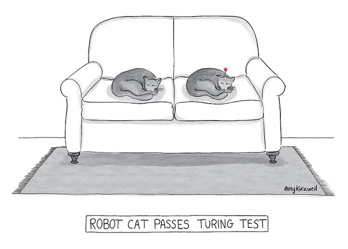 Cat Greeting Card featuring the drawing Robot Cat Passes Turing Test by Amy Kurzweil