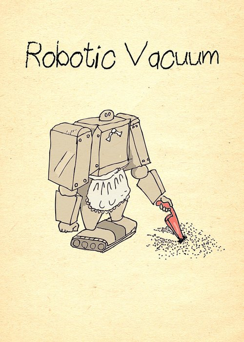 Robots Greeting Card featuring the drawing Robotic Vacuum Cleaner Comic by