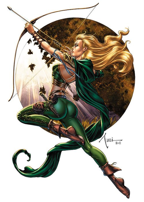 Grimm Fairy Tales Greeting Card featuring the drawing Robyn Hood 01h by Zenescope Entertainment