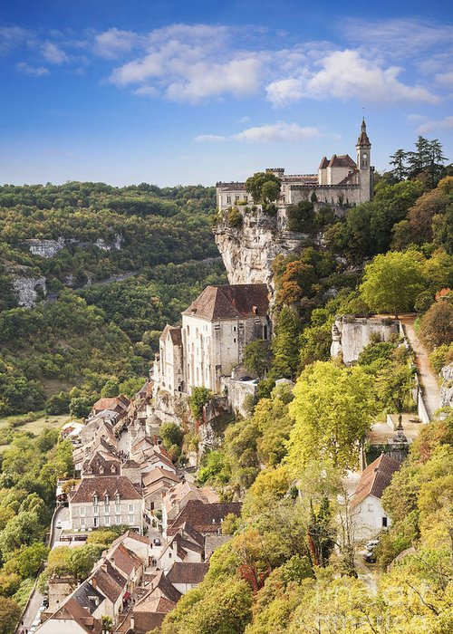 Autumn Greeting Card featuring the photograph Rocamadour Midi-pyrenees France by Colin and Linda McKie