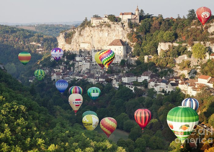 Balloons Greeting Card featuring the photograph Rocamadour Midi-pyrenees France Hot Air Balloons by Colin and Linda McKie